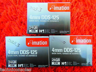 Lot 3 Cartouches Données IMATION DDS3 DDS-125 Data Cartridge 24 24GB 4mm NEUVES