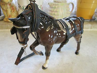 Beswick Brown Horse with Bridle and Harness