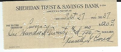 1937 Sheridan Trust & Savings Bank, Chicago, IL Check