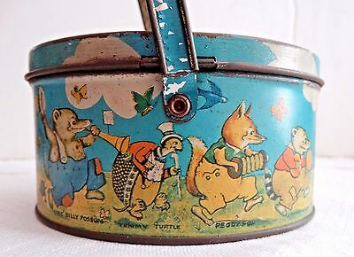Antique Vtg PETER RABBIT ON PARADE COLLECTIBLE LITHO OVAL CANDY TIN Tindeco