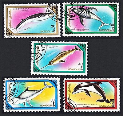 Mongolia Whales 5 stamps