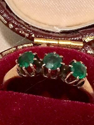 Antique Estate Victorian Claw Crown Set Three Emerald 14k Solid Rose Gold Ring