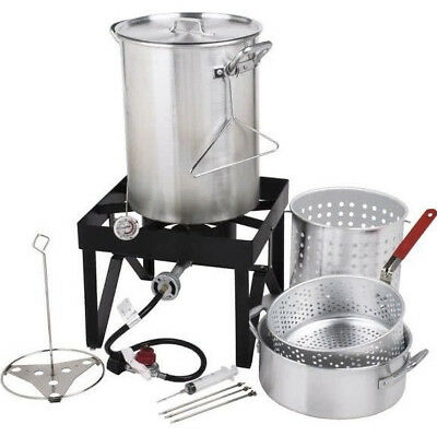 Backyard Pro 30 Qt. Deluxe Aluminum Turkey Deep Fryer Kit Steamer Pot Propane