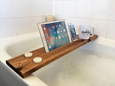 Reclaimed Solid Wood Bath Bar Tray Caddy Rack Shelf Tablet Mobile Phone Holder