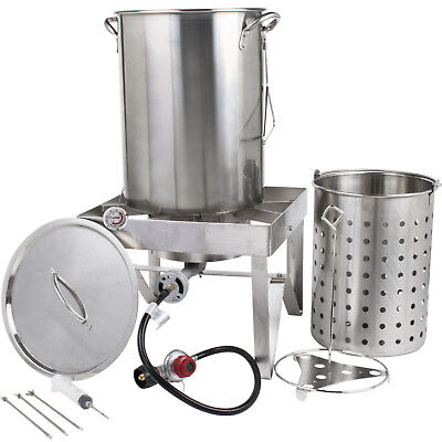 Backyard Pro 30 Qt. STAINLESS STEEL Turkey Deep Fryer Kit Steamer Pot Propane