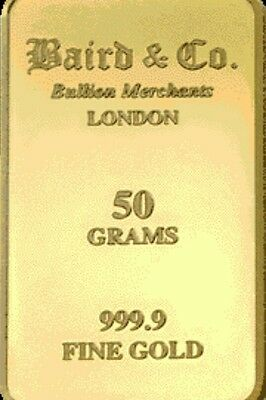 50 Grams Pure Solid Gold Bar + Free 2.5 Gram's Gold Bullion By Baird & Co