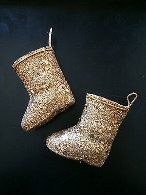 2 Santa Claus Boots Christmas Ornament Candy Container Pressed Cardboard Vintage