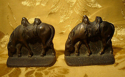 Vintage Cast Iron Saddled Grazing Horse Bookends Colored