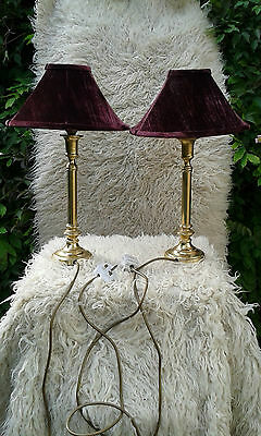 Pair of Vintage Brass Table Lamps / Night Lights