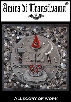 Imperial crown symbol dinasty power work fire scepter hammer original painting