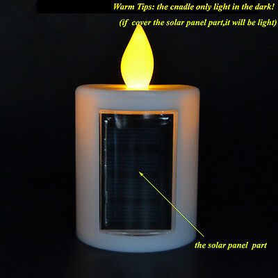 1Pc Cemetery Solar Powered energy Candle with amber Flickering light outdoor