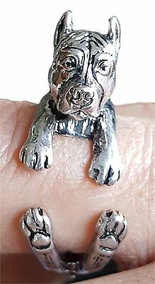 Cane Corso 3D Realistic Wrap Ring Jewelry by Pashal Silver