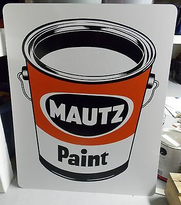 Mautz Paints Advertising Paint Can Sign NOS New Old Stock Very Good Condition