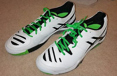 Asics Gel Challenger 10 Tennis Shoes Trainers UK 9 White Silver Green
