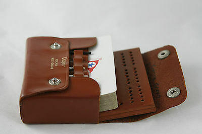 Vintage Leather Cribbage Set Leather Board and Case Cooper England