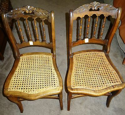 Vintage solid stained wooden chairs with caned seats, 2 chair set