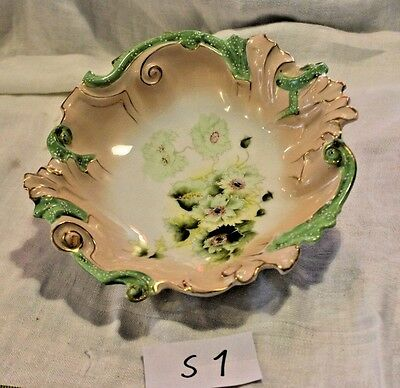 Beautiful Antique Porcelain Ornate Ruffled Bowl Hand Painted Flowers