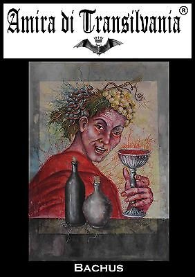Bachus portrait of man drunk glass cup grape cheerful painting acrylic on canvas