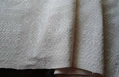 Vintage French Linen Damask Table Runner Homespun Look Country Kitchen Towel 41""