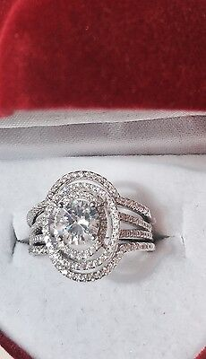 3CT Created Diamond Engagement Bridal Wedding Ring Set 100% 925 Sterling Silver