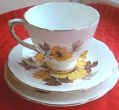 4 Royal Sutherland Unused Perfect! Yellow-Floral Bone China Cups Saucers Plates