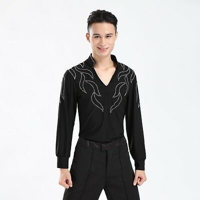 Men Latin Dance Skating Clothes Adult Costume Long Sleeve Stretch Top Shirt Tee