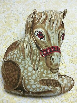 """Vintage Horse Pony Brown Red Linen Fabric Cut Out Sewn Stuffed Animal Plush 15"""""""