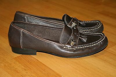 Ladies Slip On Brown Leather Uppers Shoes(Size 8 1/2 W) By Mootsies Tootsies