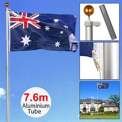 7.6M Aluminum Telescoping Australian Flag Pole Kit W/Pulley System Aussie Flag