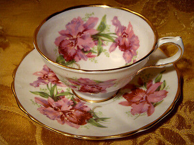 Grosvenor *orchid* Tea Cup & Saucer Made In England Gold Trim
