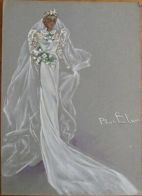 Fashion Hand-Painted 1937 Original Artwork: Woman in Wedding Dress