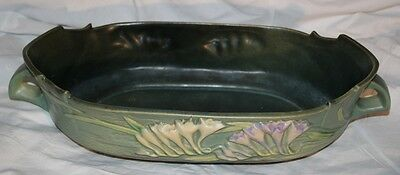 Rare ANTIQUE Roseville Art Pottery FREESIA Console Bowl Green 468-12