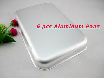 "6PCS 12.5*8.5*2""  Thicken Bake Pan Aluminum Sheet Pans New Commercial Baking"