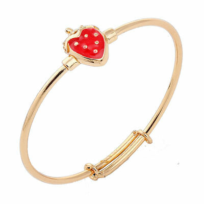 Baby Girls 18K Gold Filled Cz Adjustable Red Enamel Strawberry  Bangle