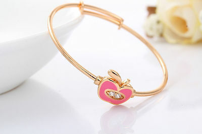 Sweet  Baby Girls 18K Gold Filled Crystal Adjustable Pink  Enamel Apple Bangle