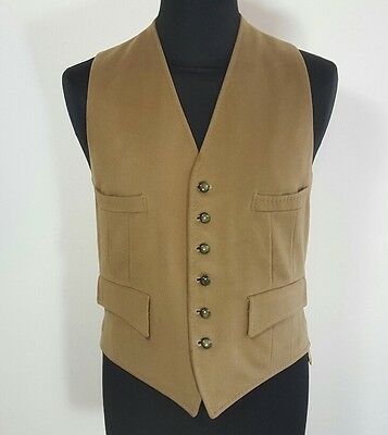 "Vintage Strachan & Co Ltd olive wool waistcoat size medium 40"" West of England"