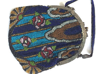 Antique ART DECO Colorful Beaded Purse w/ Metal Frame