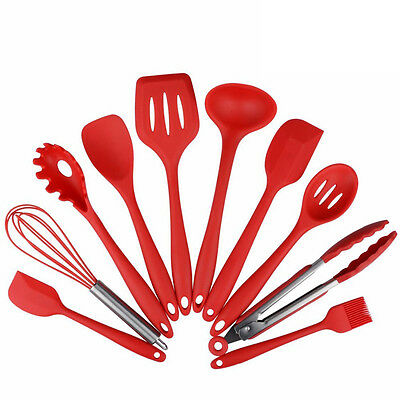 Silicone 10Pcs Kitchen Cooking Utensils Set Heat Resistant Non-Stick Baking Tool