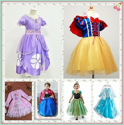 Disney Princess Sofia Frozen Anna The First Childs Dress Kids Party Cos Costume