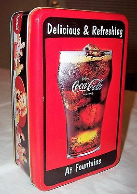 Vintage 1997 Coca-Cola Coke Embossed Tin Canister Red Can Fountain Ad Container