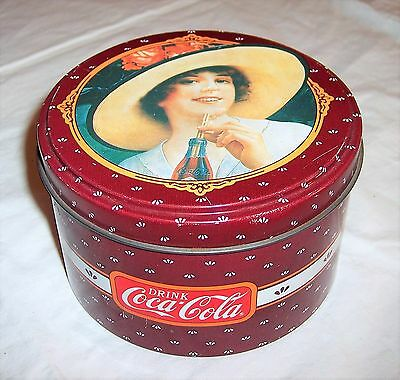 Vintage 1988 Drink Coca-Cola Coke Ladies Tin Canister Maroon Can Ad Container