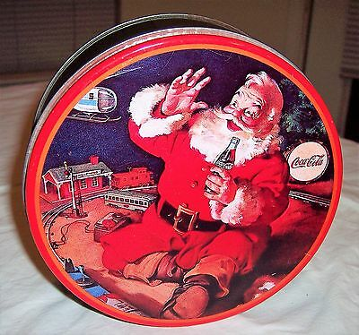 Vintage 1986 Coca-Cola Coke Santa Christmas Tin Canister Red/Green Can Container