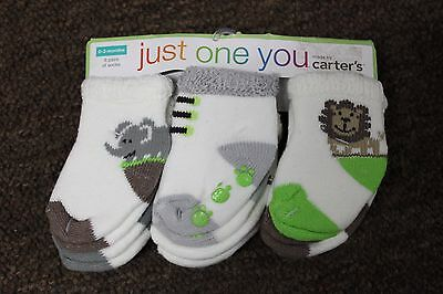 6 PAIRS JUNGLE SOCKS 0-3 Months Carter's Just One You Infant Baby Newborn NEW
