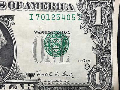 1988-A 1$ Misalignment Shift Error Very Rare Dollar Bill Serial Shifted Seal Wow
