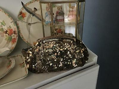 Vintage /retro Gold Evening Bag - France- Sequinned - Gorgeous Collectable