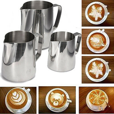 Kitchen Expresso Stainless Steel Craft Coffee Milk Latte Jug Frothing 100-1000ml