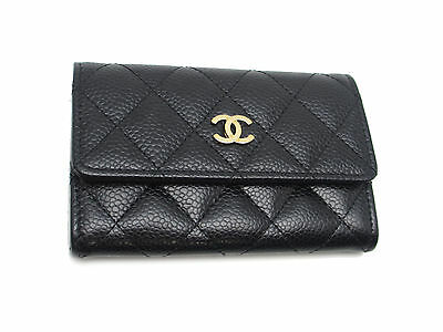 Auth Chanel Black Caviar Skin Matelasse Business Card Case A50169 (DH37531)