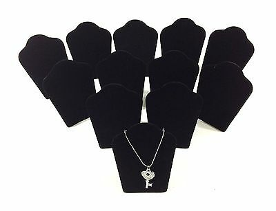 "12pc Black Velvet Collapsible Necklace Easel Stand Jewelry Showcase Display 5.""H"