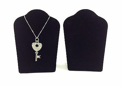 """2pc Black Velvet Collapsible Necklace Easel Stand Jewelry Showcase Display 5.""""H"""