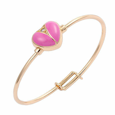 Toddler Baby Girls 18K Gold Filled  Cubic Zirconia Adjustable Pink Heart Bangle